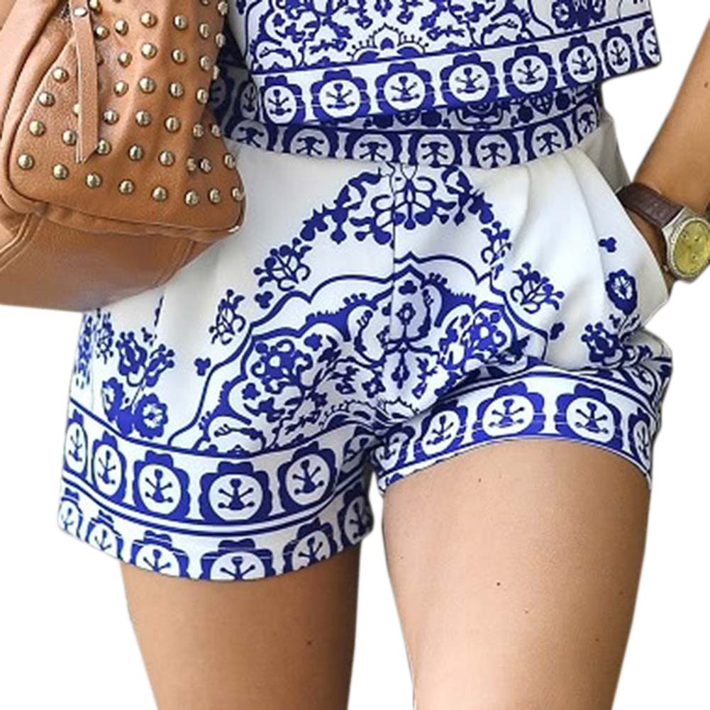2018 Summer Women Blue And White Porcelain Patten Print Casual Shorts And Elastic Waist Shorts