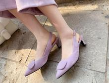 Fashion Spring Women Shoes in Pointed toe Ankle Buckle Strap with Mid High Heels For Ladies Shoe New Shallow Mouth Purple
