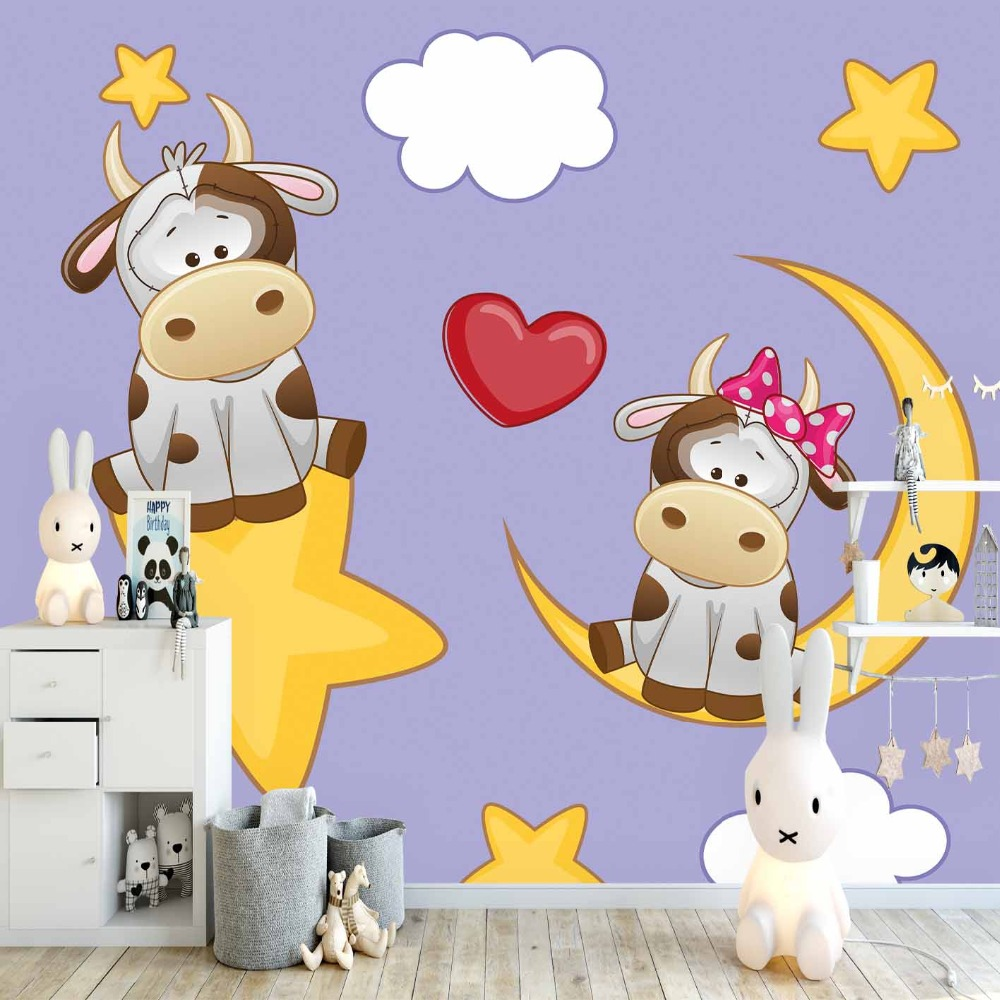Else Purpl Floor White Clouds Hearts Cute Cow 3d Print Cartoon Cleanable Fabric Mural Kids Children Room Background Wallpaper
