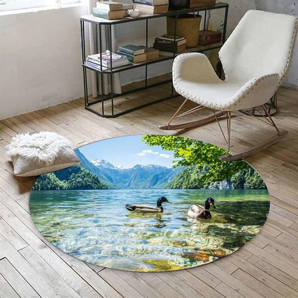 Autre vert arbre bleu lacs en canards Floral montagne 3d imprimer anti-dérapant dos tapis rond tapis pour salon salle de bain