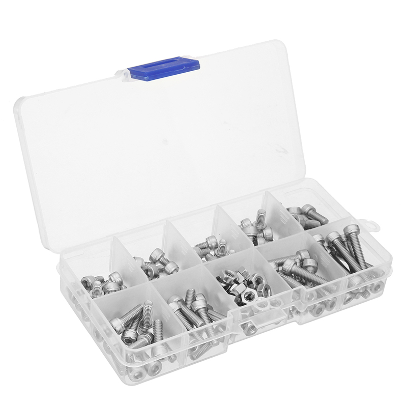 MTGATHER Stainless Steel 4-40 UNC Hex Socket Head Cap Screws Hex Nuts Assortment Set mtgather 442 pcs silver m3 stainless steel hex head srews bolt nuts hexagon handle set tool 50x18mm hot sale