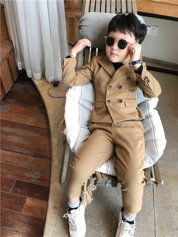Warm Wedding Formal 2PCS/set Suit Boys Casual Blazer Jacket +Pant Two Suits For Kids Clothes 3-8T Children's Blazer 100-140cm