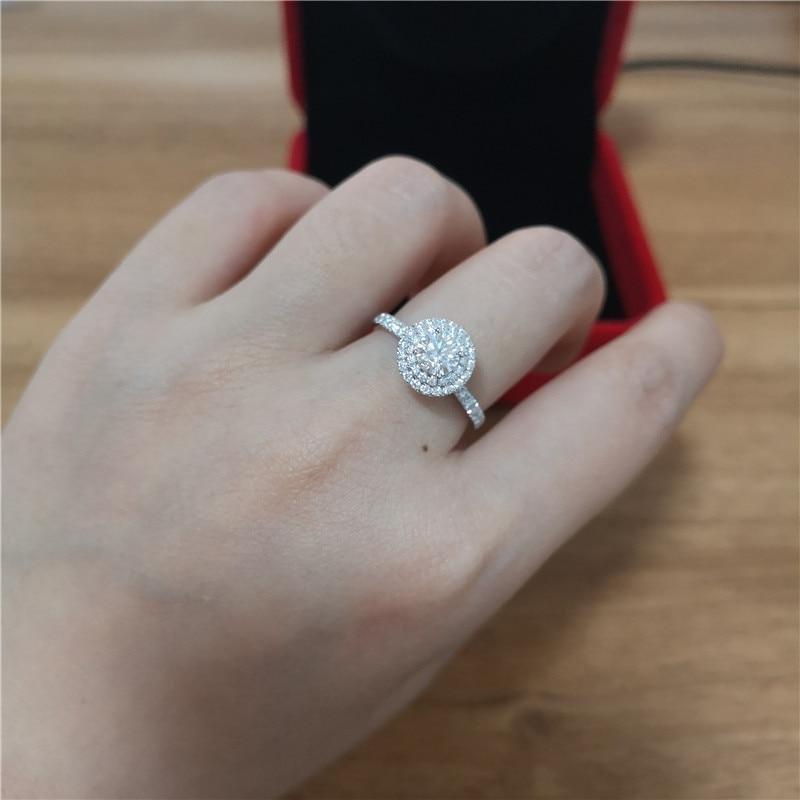 Bague classique en argent Sterling 925 avec 5mm de taille ronde DF couleur moissanite bijoux de mariage bagues de fiançailles