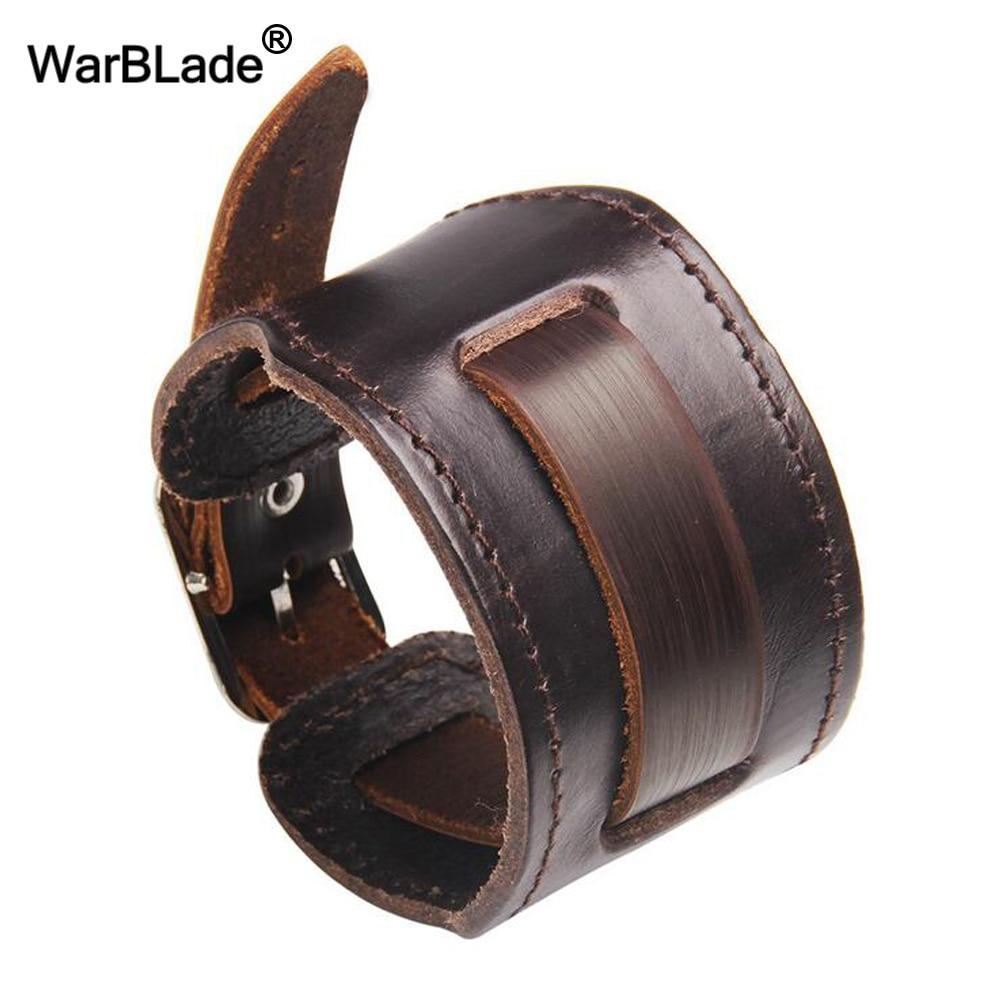 WarBLade New Fashion Men Wide Genuine Leather Bracelet Brown Wide Cuff Bracelets & Bangles Vintage Punk Wristband Men Jewelry
