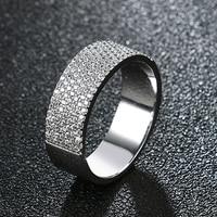 Fashion Jewelry Men Women Shining Cubic Zirconia CZ Wedding Engagement Ring Aros