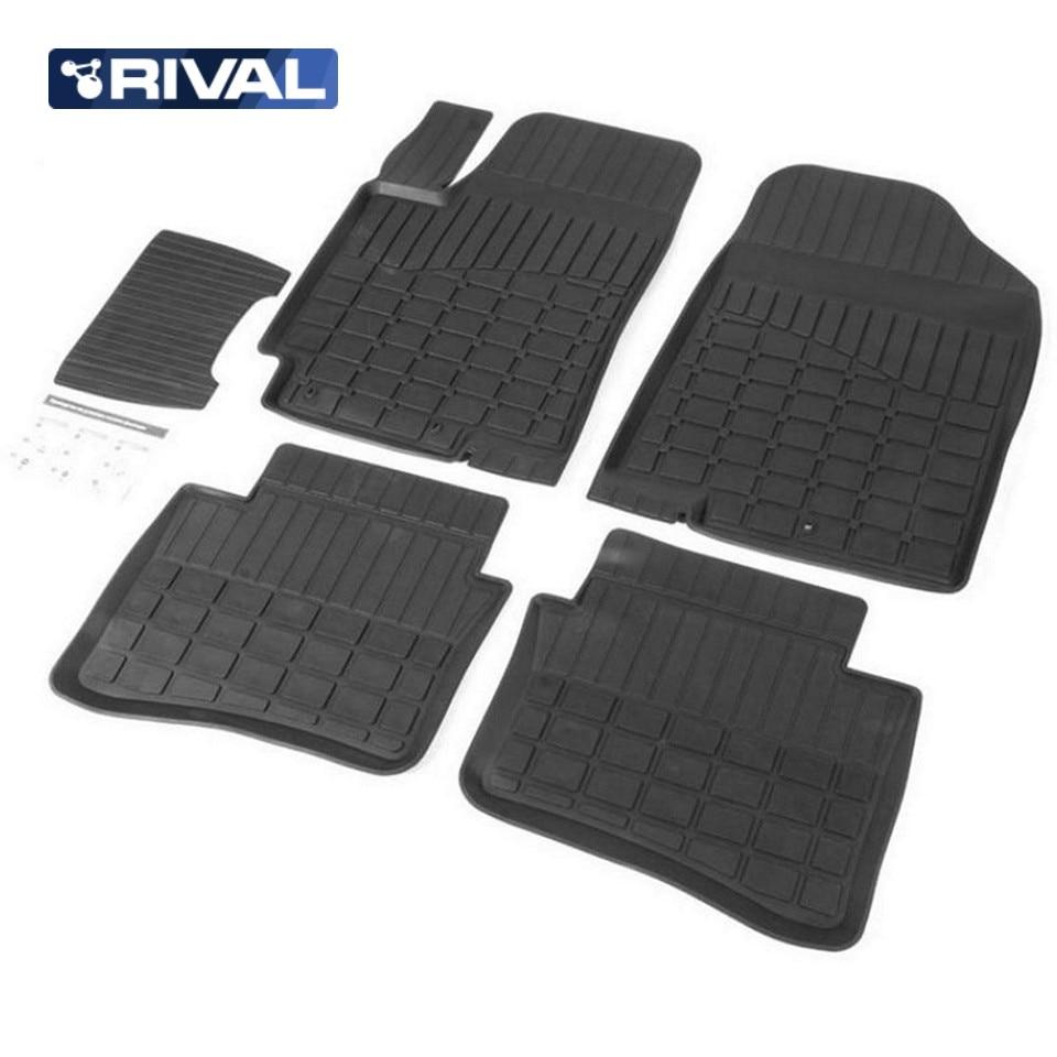 For Hyundai Solaris 2011-2016 rubber floor mats into saloon 5 pcs/set Rival 62305001 for hyundai solaris 2011 2016 rubber grid floor mats into saloon 5 pcs set seintex 83112