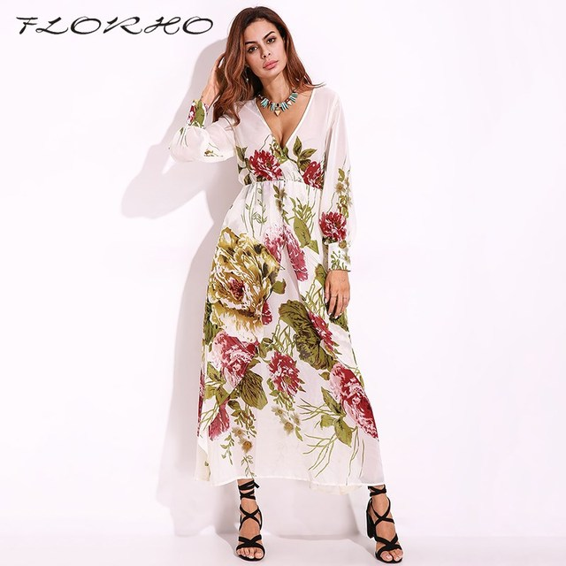 2018 Boho Flower Print Maxi Dress Sexy Sheer Casual Party Dresses Elegant  Women Long Sleeve Deep V-neck Wrapped Long Dress 5XL 53e2f0b99837