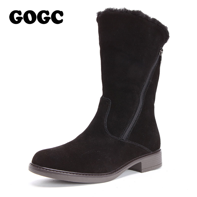 GOGC Genuine Leather Women Winter High Boots Warm Heel Woman Winter Shoes New Mid-Calf Boots Women's Boots for Winter 2018