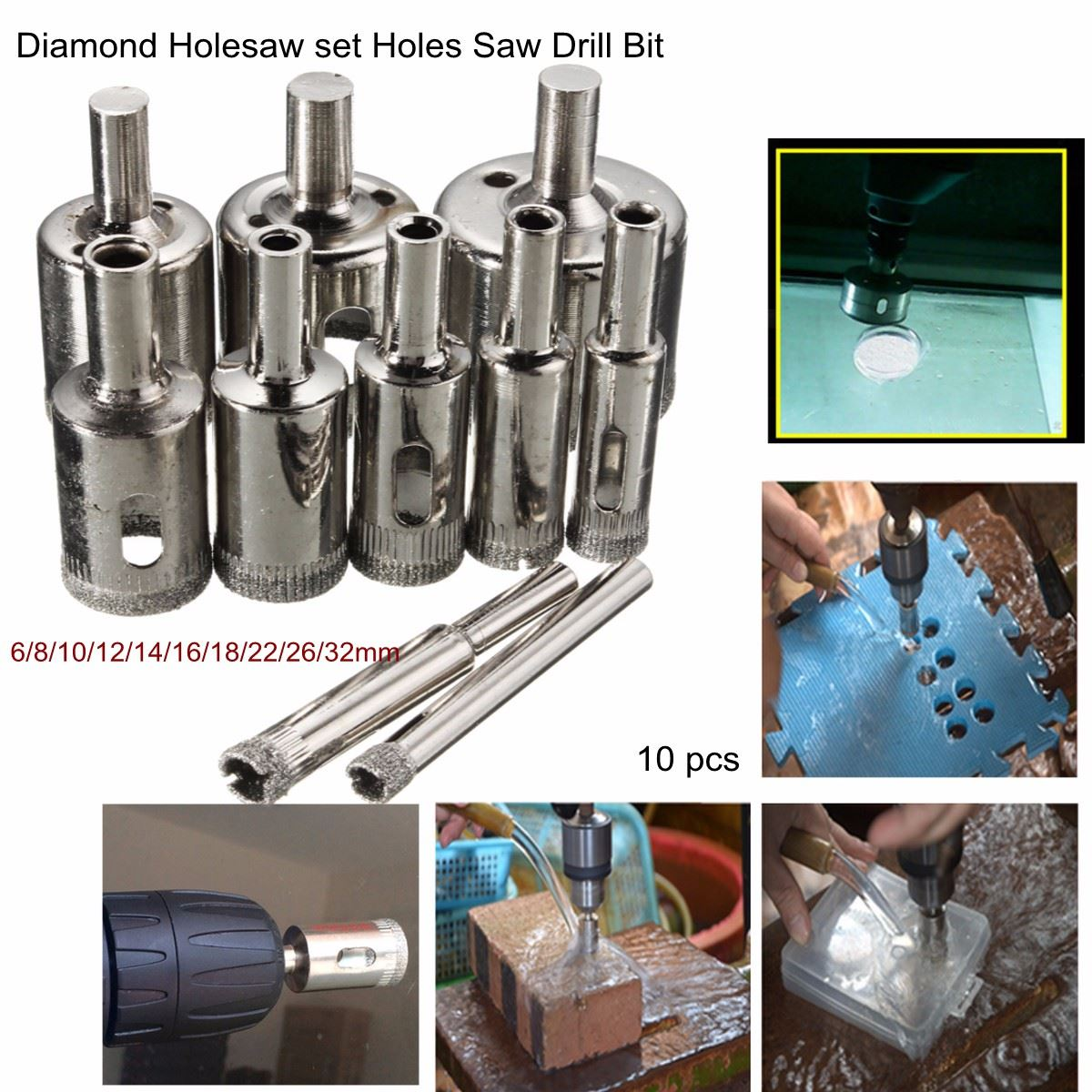 10pcs/set Diamond Holesaw Drill Bit 6-32mm Set For Tile Ceramic Porcelain Glass Marble Top Quality 10pcs set diamond holesaw 3 50mm core drill bit set tile ceramic porcelain marble glass top quality