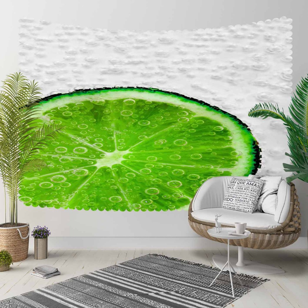Else Green Tropical Slice Of Lemons Water Bubbles 3D Print Decorative Hippi Bohemian Wall Hanging Landscape Tapestry Wall Art