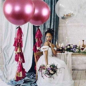 Image 2 - 1PC 36 インチローズレッド巨大なラウンドメタリック風船結婚式装飾ジャイアントラテックス風船誕生日パーティー子供のおもちゃビッグゴールドグロボス