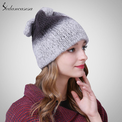 Autumn winter beanies hat unisex knitted acrylic Skullies casual cap with cute unique ears decoration contrast colors ski gorros