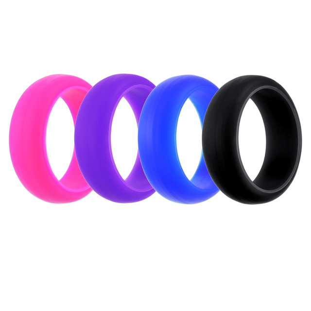 mjartoria fixed mix 4 color womens sports marriage silicone ring combination new arrival wedding ring - Sports Wedding Rings