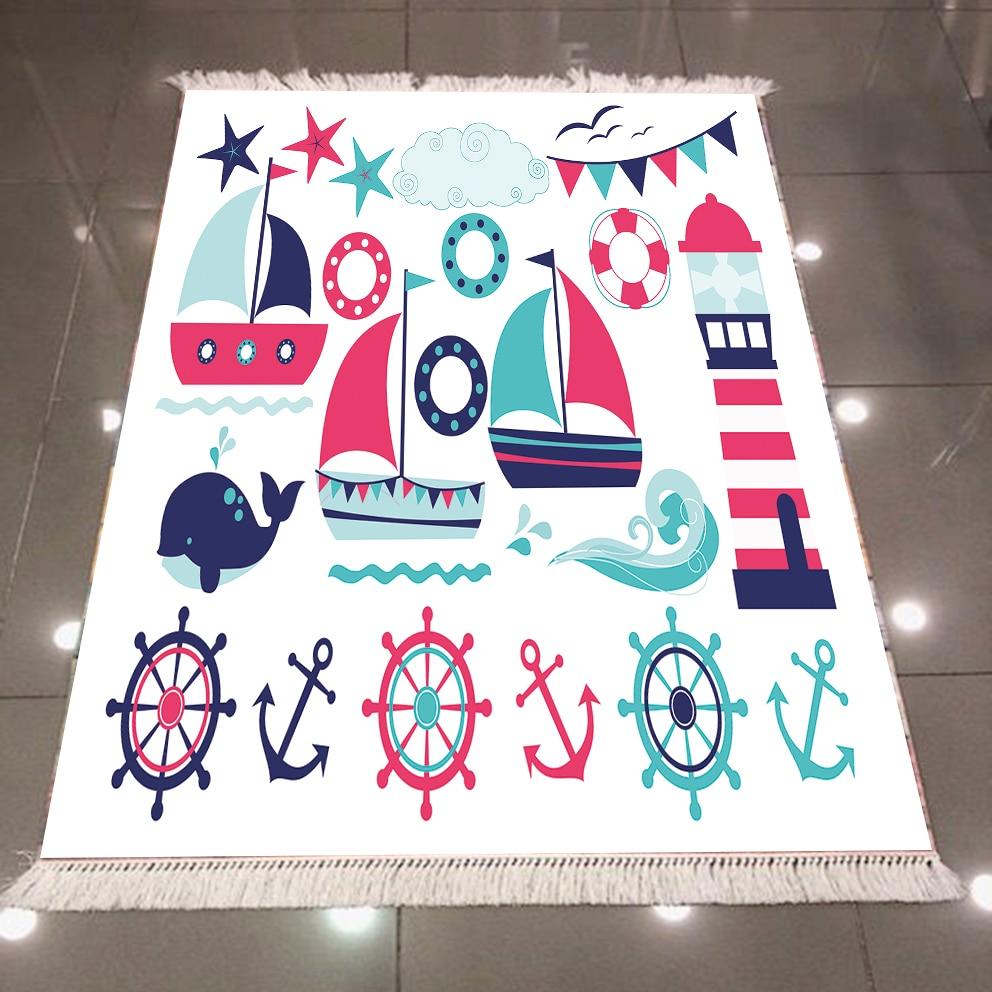 Else Blue Red Sailor Ship Sea Lighthouse Anchor 3d Microfiber Anti Slip Back Washable Decorative Kilim Kids Room Area Rug Carpet