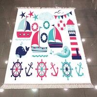 Else niebieski czerwony marynarz statek morze latarnia kotwica 3d mikrofibra antypoślizgowe powrót zmywalny dekoracyjne Kilim dzieci pokój dywan do składania dywan w Dywan od Dom i ogród na