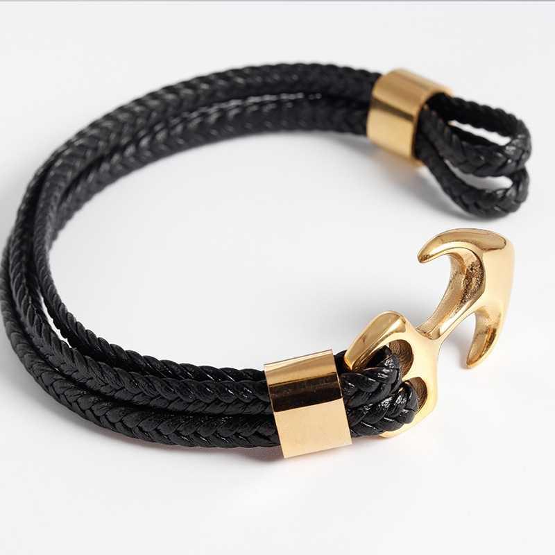 Pulsera de acero de titanio de alta calidad para hombres, pulsera de cuero de personalidad negra tejida, correa de cuero de anclaje, pulsera de cuerda para regalo de hombres