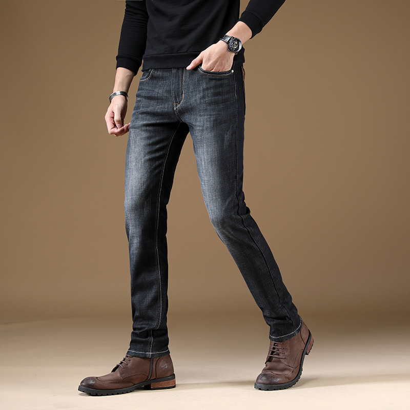 Fashion Winter Jeans Men Straight Fit Cotton Velvet Jeans Casual Business Pants Black Blue Classical Thick Warm Jeans For Men in Jeans from Men 39 s Clothing