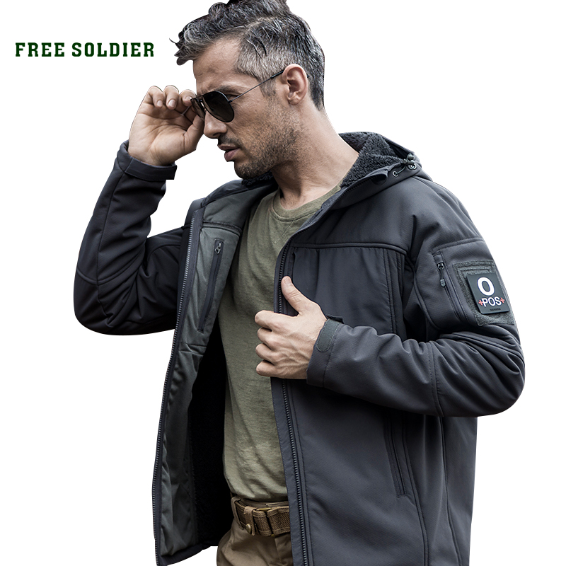 FREE SOLDIER Outdoor camping hiking tactical military softshell jacket wind warm water-resistant men's  coat sofirn c19 high power led flashlight 18650 self defense military tactical powerful flashlight 26650 torch light camping hunting