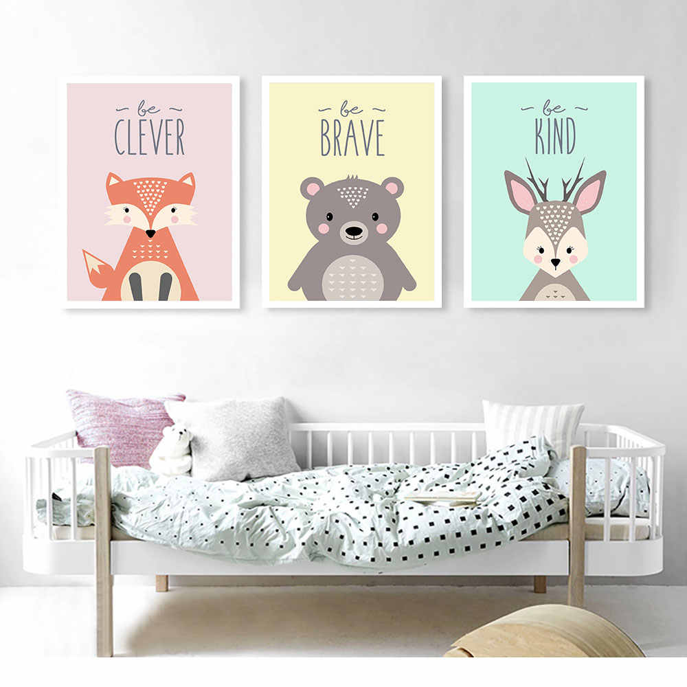 Baby Decor Animal Painting Be Brave Girl Room Wall Art Canvas Prints Beer Nordic Poster Bedroom Wall Painting Canvas Pictures Painting & Calligraphy  - AliExpress