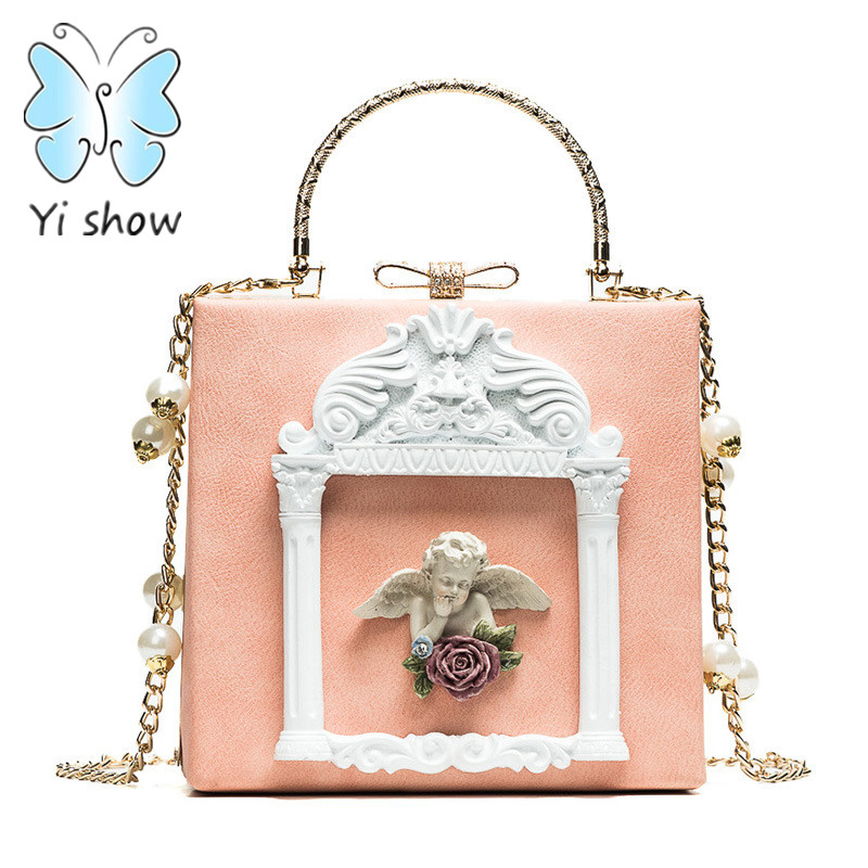 YISHOW High-end custom baroque Evening bag Angel handbag diamant box chain shoulder bag dress Business party formal crossbody ba