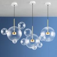 Large modern Villa Living Room Restaurant pendant Light Simple Modern Creative LED Atmospheric clear Bubble Glass pendant lamp