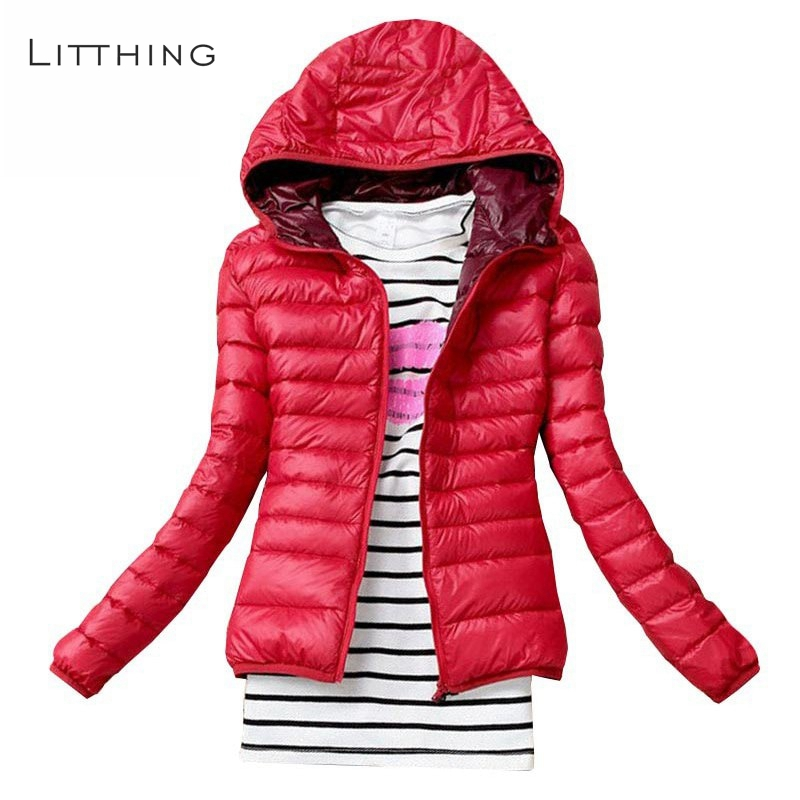 LITTHING 2019 Spring Autumn Women   Basic     Jacket   Coat Female Slim Hooded Brand Cotton Coats Casual Black   Jackets     Basic   Light Warm