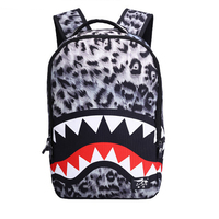 New trendy Leopard women lady backpack bags Shark teeth school backpack Polyester designer backpack with zipper pockets