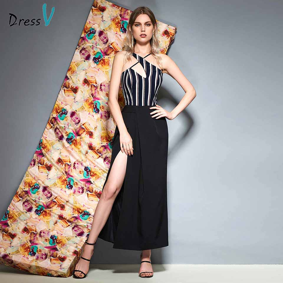 Dressv Halter Neck Cocktail Dress Sheath Sleeveless Split Front Wedding Party Evening Formal Dress Cocktail Dresses Customade