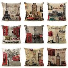 Vintage Inglaterra funda de cojín hogar almohadas decorativas funda de almohada de lino estilo Retro Euro 45x45 cm 18