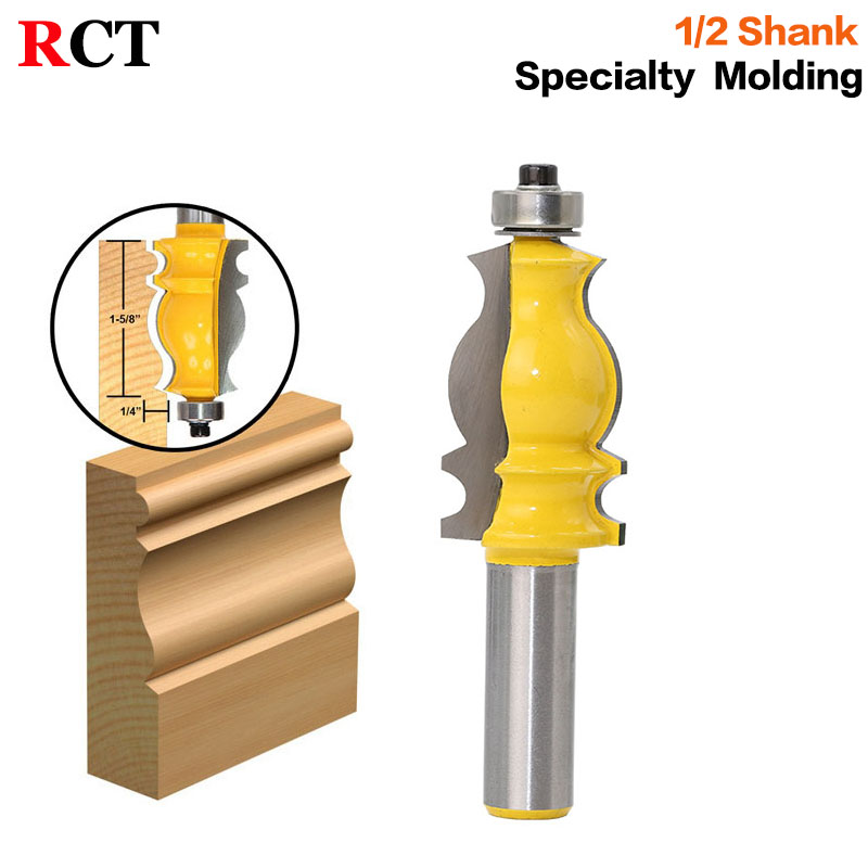 1PC Architectural Molding Router Bit - 1/2 Shank Tenon Cutter for Woodworking Tools - RCT-18002 high grade carbide alloy 1 2 shank 2 1 4 dia bottom cleaning router bit woodworking milling cutter for mdf wood 55mm mayitr