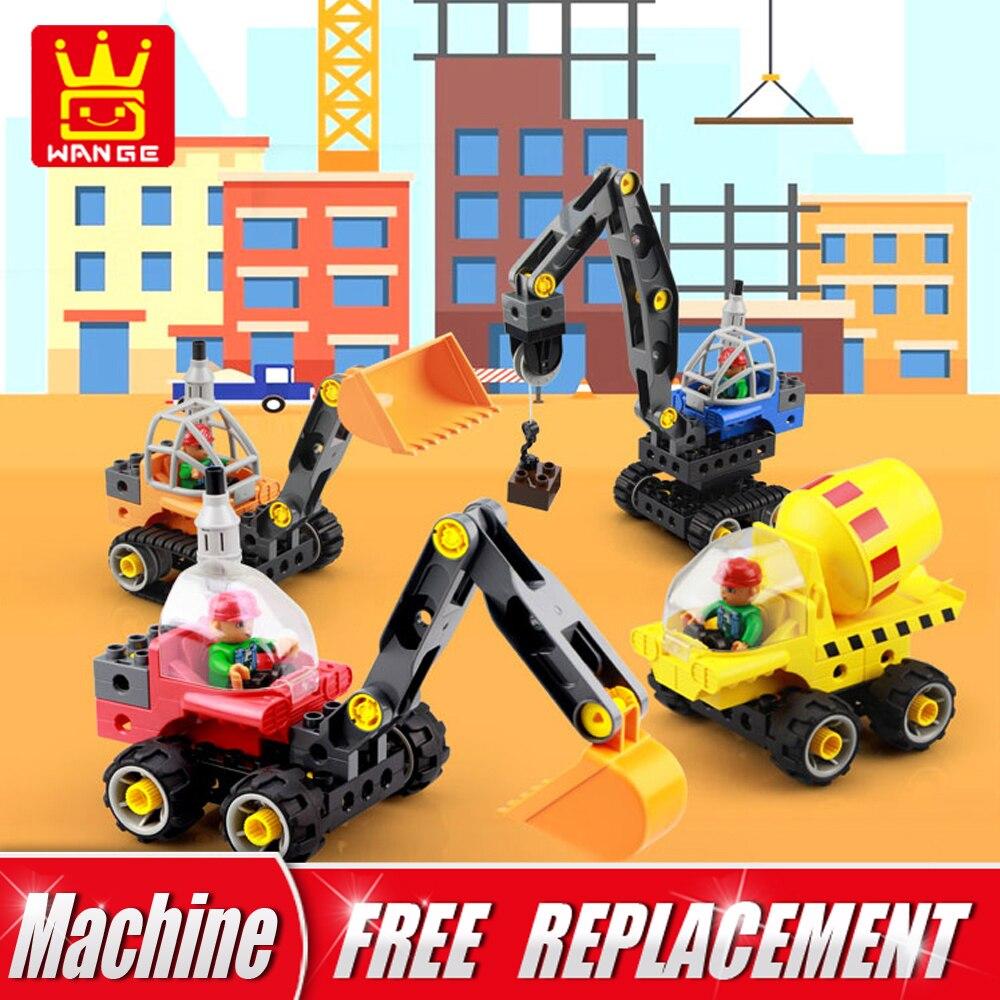 WANGE 5 in 1 Technical Machines Big Size Bricks 38pcs 5Cards Excavator DIY Building Blocks Educational
