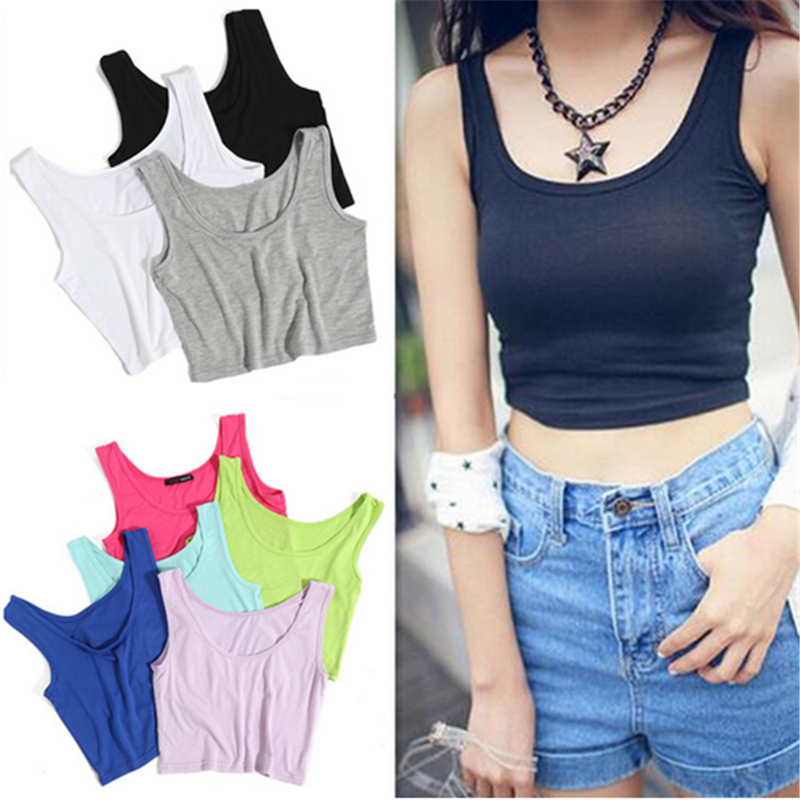 Fashion Summer Women Sleeveless U Croptops   Tank     Tops   Slim Render Short   Top   Solid Black/White Crop   Tops   Vest Tube   Top