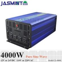 4000W Off Grid Solar Inverter, 12V/24VDC 110V/220VAC Pure Sine Wave Power Inverter, Surge Power 8000W PV Inverter off grid pure sine wave solar inverter 24v 220v 2500w car power inverter 12v dc to 100v 120v 240v ac converter power supply
