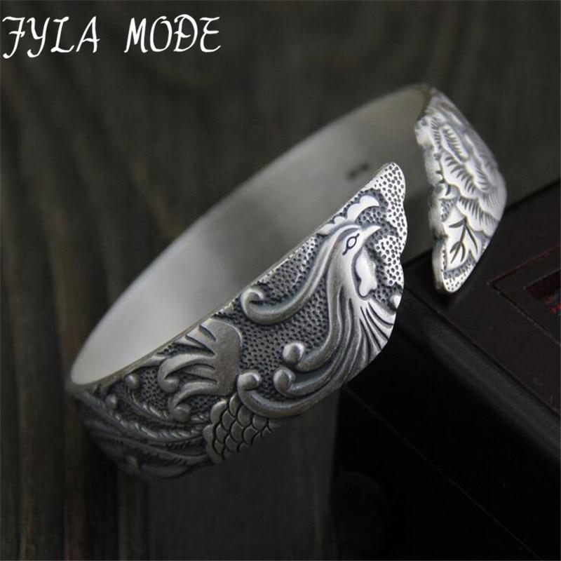 цены 990 Sterling Silver Peony Flower Bracelets For Women Vintage Handcraft Opening Silver Phoenix Peony Bracelets & Bangles Jewelry
