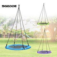 SGODDE Children Kids Round Nest Tree Swing Large Seat Hammocks Outdoor Yard Play Equipment 100cm