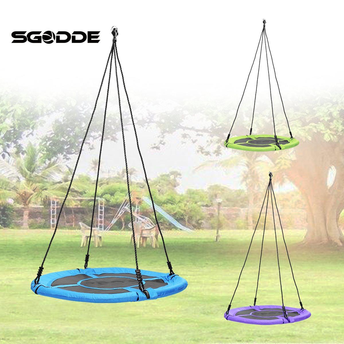 SGODDE Enfants Enfants Nid Rond Arbre Swing Grand Siège Hamacs En Plein Air Cour Équipement de Jeu 100 cm