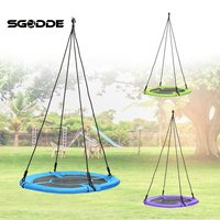 SGODDE Children Kids Round Nest Tree Swing Large Seat Hammocks Outdoor Yard Play Equipment 100cm