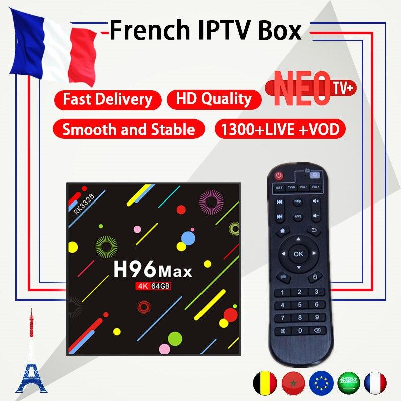 Français IPTV H96 Max Android TV box 7.1 4g/64g + un an NEO code 1300 + vivre France Arabe Belgique IPTV m3u Set top Box smart tv