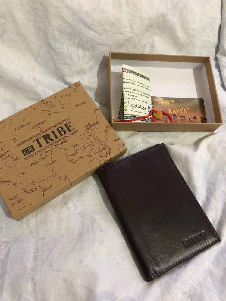 KAVIS Free Engraving Name Passport Cover Genuine Cow Leather Small ID Card Holder Travel Credit Men Wallet Purse Case Thin photo review