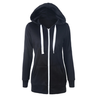 New Hoodies Sweatshirt Ladies Women Men Coat Top NEW 2 Colors Unisex Plain Zip Up Hooded