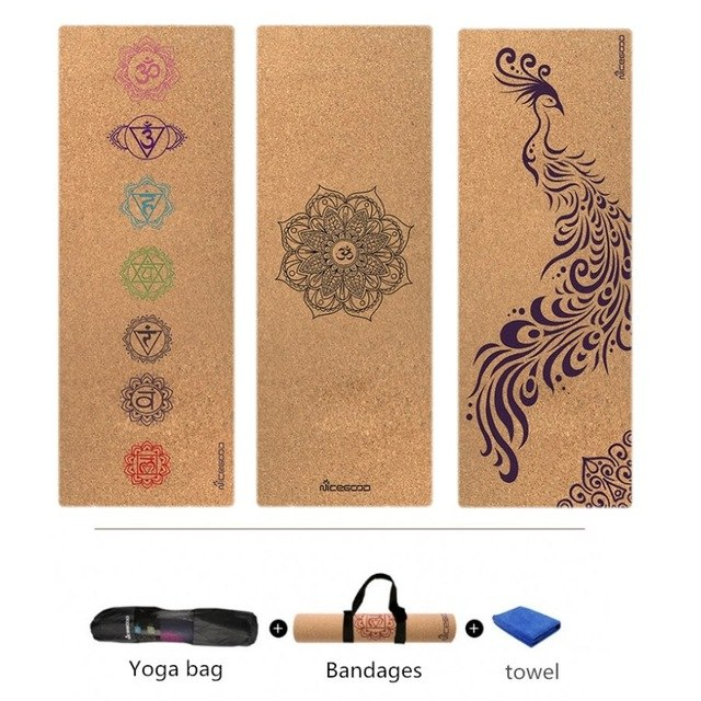Cork Natural Rubber Yoga Mat for Fitness Eco-Friendly Professional Pilates Pad Gymnastics Exercise Mats 183cm *61cm*3mm,HB091 cork natural rubber yoga mat eco friendly non slip 183cm 61cm 3mm pilates mat tapis yoga gym fitness exercise mats gym mat