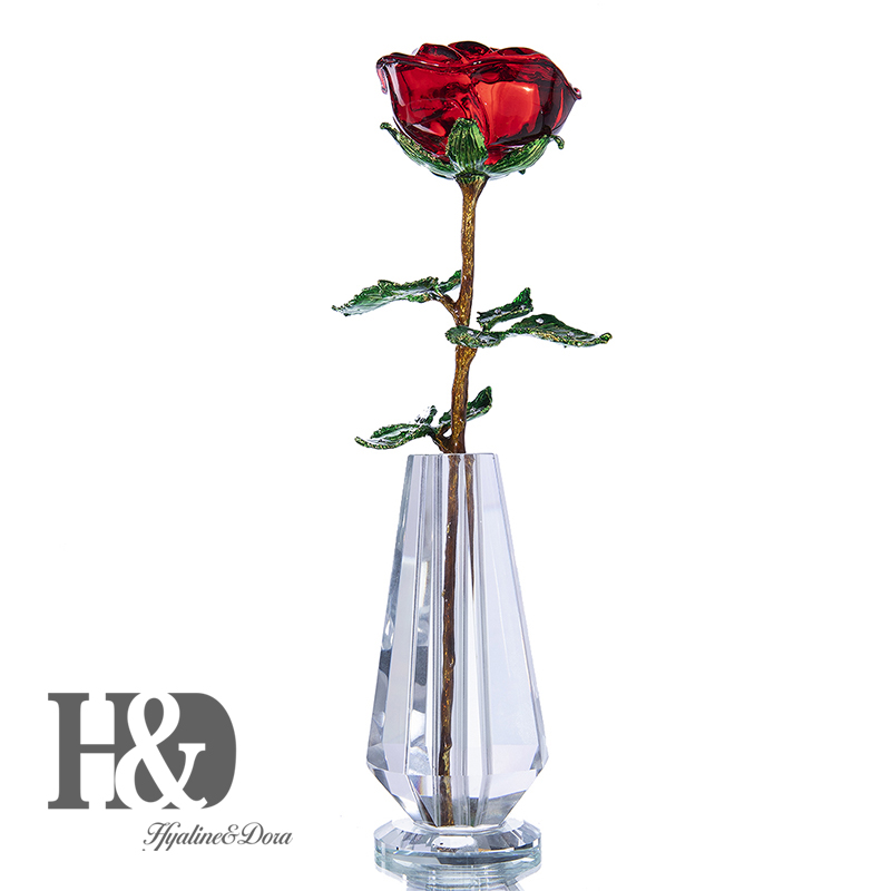 H&D Crystal Rose Flower for Crystal Anniversary,Romantic Love Gift for Girlfriend Christmas Birthday with Crystal Vase Decor H&D Crystal Rose Flower for Crystal Anniversary,Romantic Love Gift for Girlfriend Christmas Birthday with Crystal Vase Decor