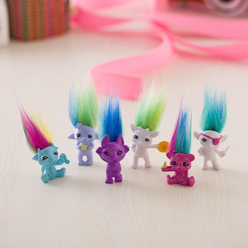 12pcs/Lot Random Send 4cm Mini Size Trolls Pencil Topper The Good Luck Trolls Doll Movie Roles Pvc Toys Gifts For Kids,Squinkies