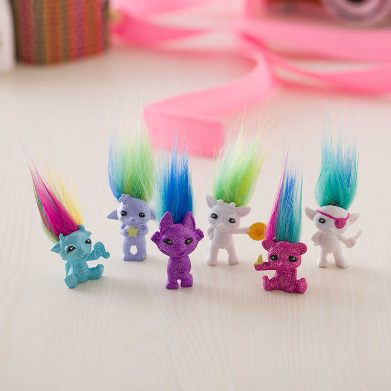 12pcs/lot random send 4cm Mini Size Trolls Pencil Topper The Good Luck Trolls Doll Movie Roles PVC Toys Gifts For Kids,Squinkies