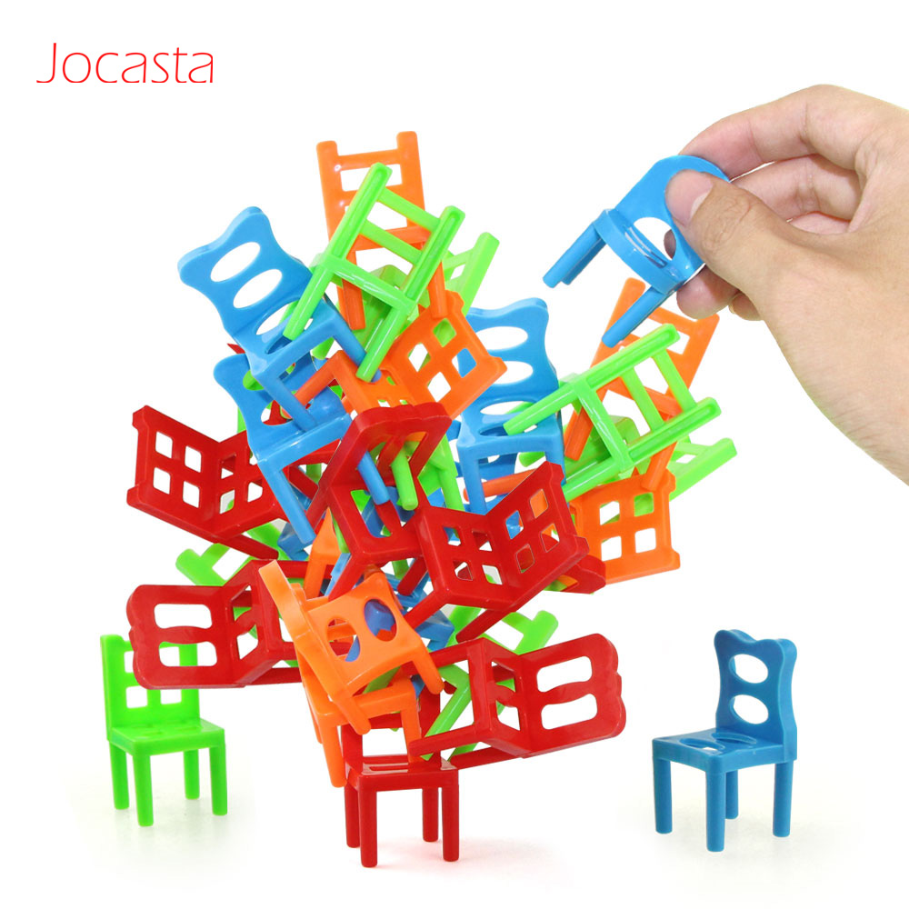 18pcs Mini Chair Balance Blocks Toy Plastic Assembly Blocks Stacking Chairs Kids Educational Family Game Balancing Training Toy[