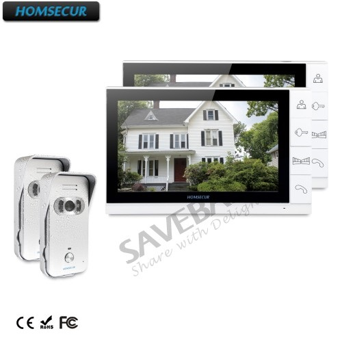 цена HOMSECUR 9 Wired Video Door Phone Home Intercom System 2 Monitors 2 Silver Camera 700TVL