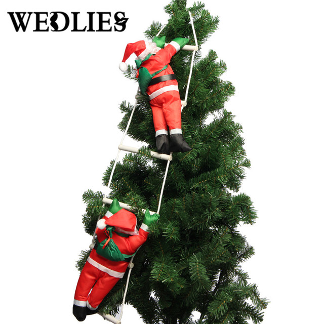 40cm climbing santa claus with rope ladder outdoor christmas tree decorations for home mall new year - Outdoor Christmas Tree Decorations