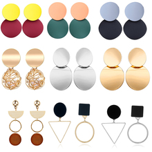 Bls Trendy Gold Geometric Round Drop Earrings for Women Vintage Punk Sequin Statement Dangle Earring Jewelry Brincos 2018 New