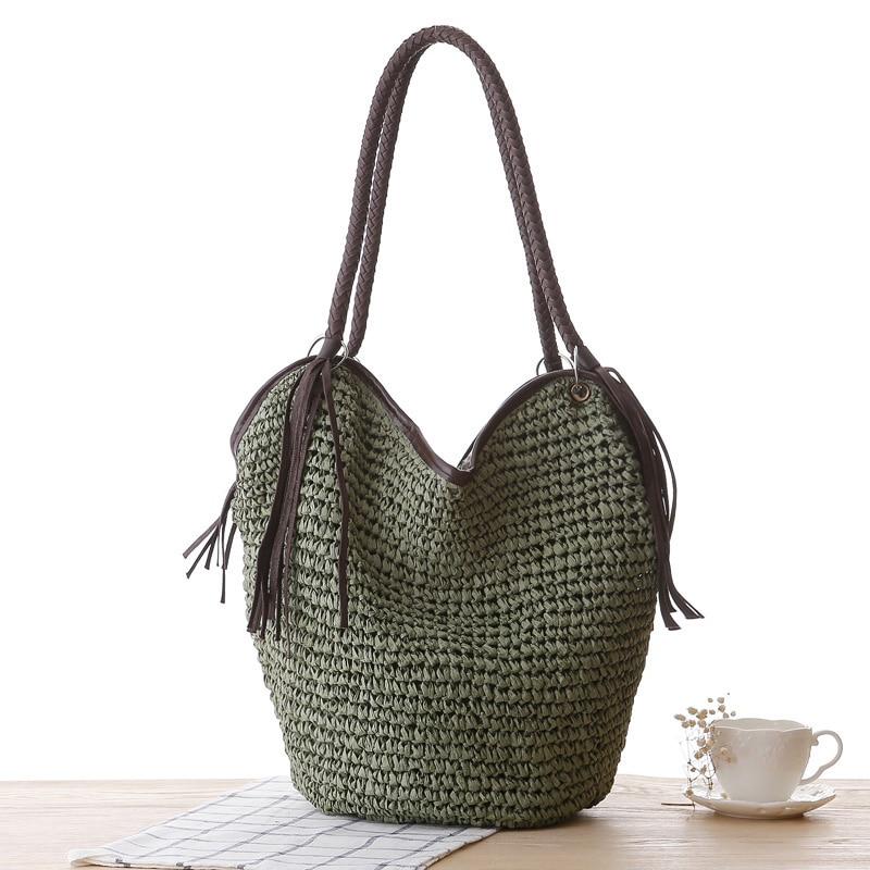 Women Straw Handbag Tassel Female Summer Beach Hobos Bag