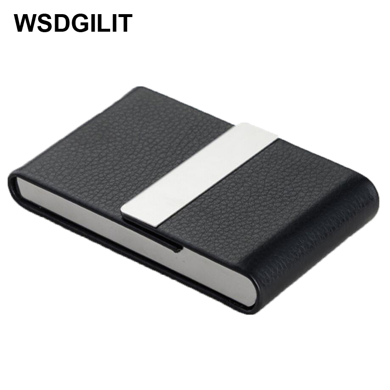 WSDGILIT Business Name Card Holder Stainless Steel Cards Wallet Credit Holder Unisex Visit Card Case Metal PU Leather Solid Box